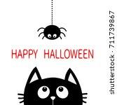 happy halloween. black cat face ... | Shutterstock . vector #711739867