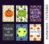 halloween party cards pumpkin... | Shutterstock .eps vector #711761863