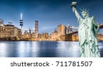 the statue of liberty with... | Shutterstock . vector #711781507