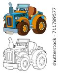cartoon farm tractor   isolated ... | Shutterstock . vector #711789577