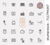 vintage retro line icon set | Shutterstock .eps vector #711794347