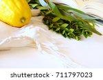 jewish festival of sukkot.... | Shutterstock . vector #711797023