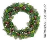 winter and christmas wreath... | Shutterstock . vector #711802027