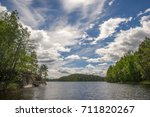 Small photo of beautiful bay in the lake Saima, Finland