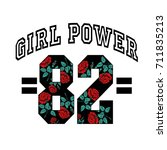 girl power 82 slogan fashion... | Shutterstock .eps vector #711835213