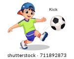 cute boy kicking soccer ball... | Shutterstock .eps vector #711892873