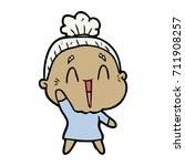 cartoon happy old lady | Shutterstock .eps vector #711908257