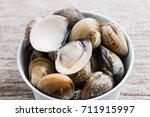 fresh enamel venus shell ... | Shutterstock . vector #711915997
