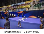 Small photo of Flag of the Asian Football Confederation (AFC) during AFC Futsal Club Championship Vietnam 2017 Match THAI SON NAM and VIC VIPERS at Phu tho Stadium on July 22,2017 in Ho chi minh,Vietnam.