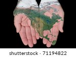 map of north america painted on ... | Shutterstock . vector #71194822
