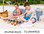 kids brother and sister on a... | Shutterstock . vector #711949903