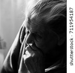 portrait of a very old tired... | Shutterstock . vector #711954187