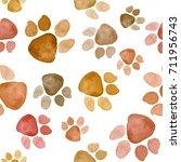 watercolor paw dog pet or cat...   Shutterstock . vector #711956743