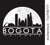 bogota full moon night skyline... | Shutterstock .eps vector #711958777