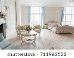 luxurious light interior in the ... | Shutterstock . vector #711963523