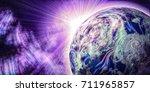 wide pink space background   ...   Shutterstock . vector #711965857