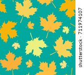 Seamless Pattern with Autumn Maple Leaves. Vector Illustration. Autumn Design Collection, Backgrounds, Wrapping Paper Design
