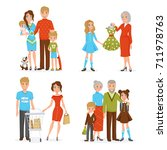 happy big family decorative... | Shutterstock . vector #711978763