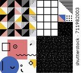 4 styles memphis pattern 80's... | Shutterstock .eps vector #711982003