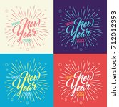 happy new year 2018 colorful... | Shutterstock .eps vector #712012393