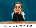 happy smiling caucasian child... | Shutterstock . vector #712014187