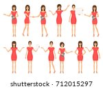 set of girls in dresses and... | Shutterstock .eps vector #712015297