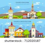 beautiful historic church... | Shutterstock . vector #712020187