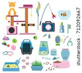 cat toys collection cat stuff... | Shutterstock .eps vector #712092667