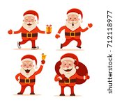 cartoon santa claus set for... | Shutterstock . vector #712118977
