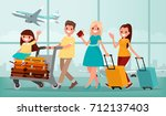 happy family in airport... | Shutterstock .eps vector #712137403