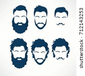 hipster vector set  hair and... | Shutterstock .eps vector #712143253
