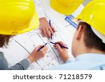 three architects correcting a... | Shutterstock . vector #71218579