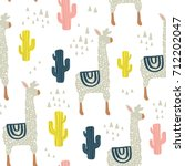 Seamless pattern with lama, cactus and hand drawn elements. Childish texture. Great for fabric, textile Vector Illustration