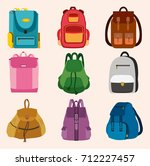 set of bright kids school bags... | Shutterstock .eps vector #712227457