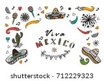 viva mexico vector greeting... | Shutterstock .eps vector #712229323