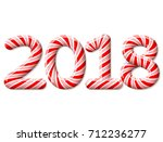 new year 2018 in shape of candy ... | Shutterstock .eps vector #712236277