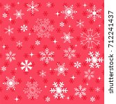winter snowflakes red background | Shutterstock .eps vector #712241437
