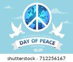 world peace day white dove bird ... | Shutterstock .eps vector #712256167