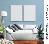 mock up poster in interior with ... | Shutterstock . vector #712259617