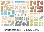 set of landscape elements.... | Shutterstock .eps vector #712272247