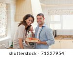 lovely couple looking at the... | Shutterstock . vector #71227954