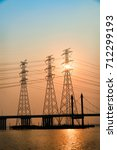 the bridge tower is in the... | Shutterstock . vector #712299193