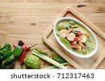 thai food shrimp green curry... | Shutterstock . vector #712317463