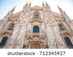 the duomo of milan cathedral in ...   Shutterstock . vector #712345927