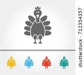 turkey single icon vector... | Shutterstock .eps vector #712354357