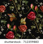 embroidery butterfly and roses... | Shutterstock .eps vector #712359883