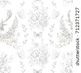seamless pattern with deer... | Shutterstock .eps vector #712371727