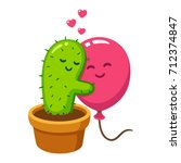 cute cartoon cactus and balloon ... | Shutterstock . vector #712374847