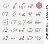 animals line icons set | Shutterstock .eps vector #712393597