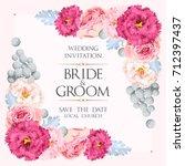 vintage wedding invitation | Shutterstock .eps vector #712397437
